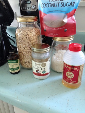 Easy ingredients, oats, oil,, honey, coconut sugar, vanilla, coconut - oops forgot to put the almond milk and cashew butter in the photo!